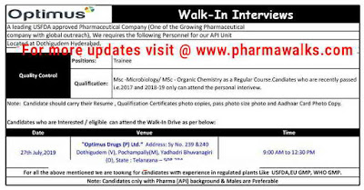 Optimus Drugs - Walk-in interview for Freshers - Quality Control on 27th July, 2019