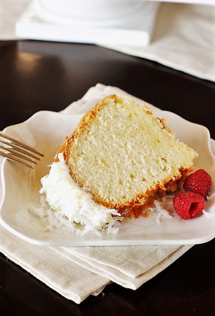 Slice of Coconut Pound Cake Plated Image
