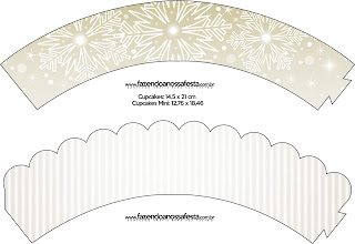 Gold and Grey Free Printable Wrappers Cupcake.