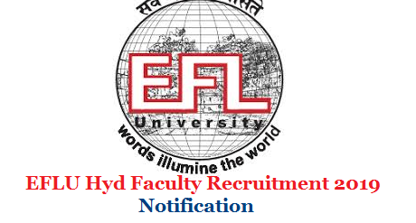 The English and Foreign Languages University Hyderabad Shillong and Luknow Campus invite Application forms from the Professors Assistant Professors and Associate Professor job aspirants with suitable Educational Qualifications with NET. Application Form may be downloaded from here  efl-university-iflu-faculty-professors-assistant-associate-recruitment-application-form-download