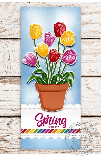 Sunny Studio Blog: Tulips & Terracotta Pot Spring Smiles Slimline Card (using Potted Rose, Timeless Tulips, & Cheerful Daisies Stamps, Stitched Scallop Dies and Rainbow Bright Paper)