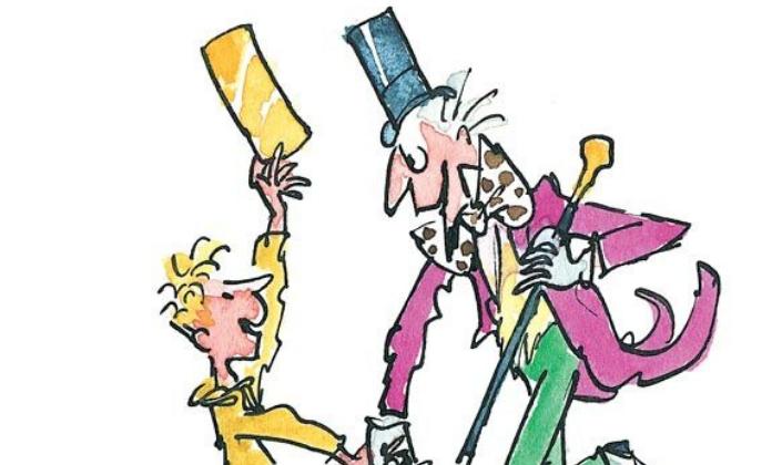 Imagem de capa: fundo em branco e uma ilustração bem simples do livro A Fantástica Fábrica de Chocolate com Charlie, um garotinho em amarelo mostrando o ticket dourado para Willy Wonka, um homem em um terno roxo com detalhes coloridos, barbicha, cartola e bengala.