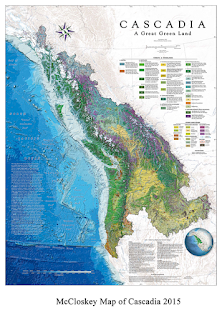 Mapa de Cascadia según David McCloskey