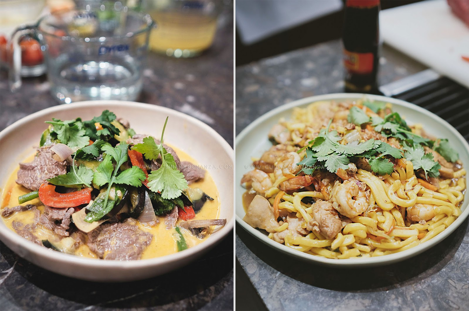 Red Beef & Vegetables Curry (left) and Chicken & Prawn Hailam Noodles (right)-(www.culinarybonanza.com)