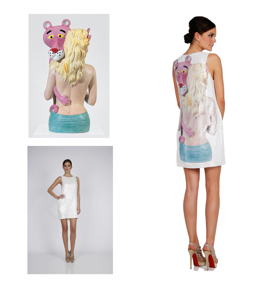 Pink Panther Sculpture by Jeff Koons and Pink Panther Dress by Lisa Perry