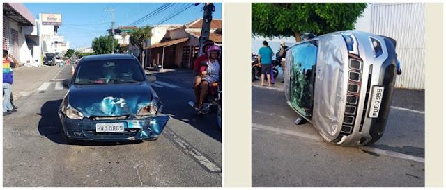 Dois veículos se chocaram na manhã deste sábado na cidade de Patos