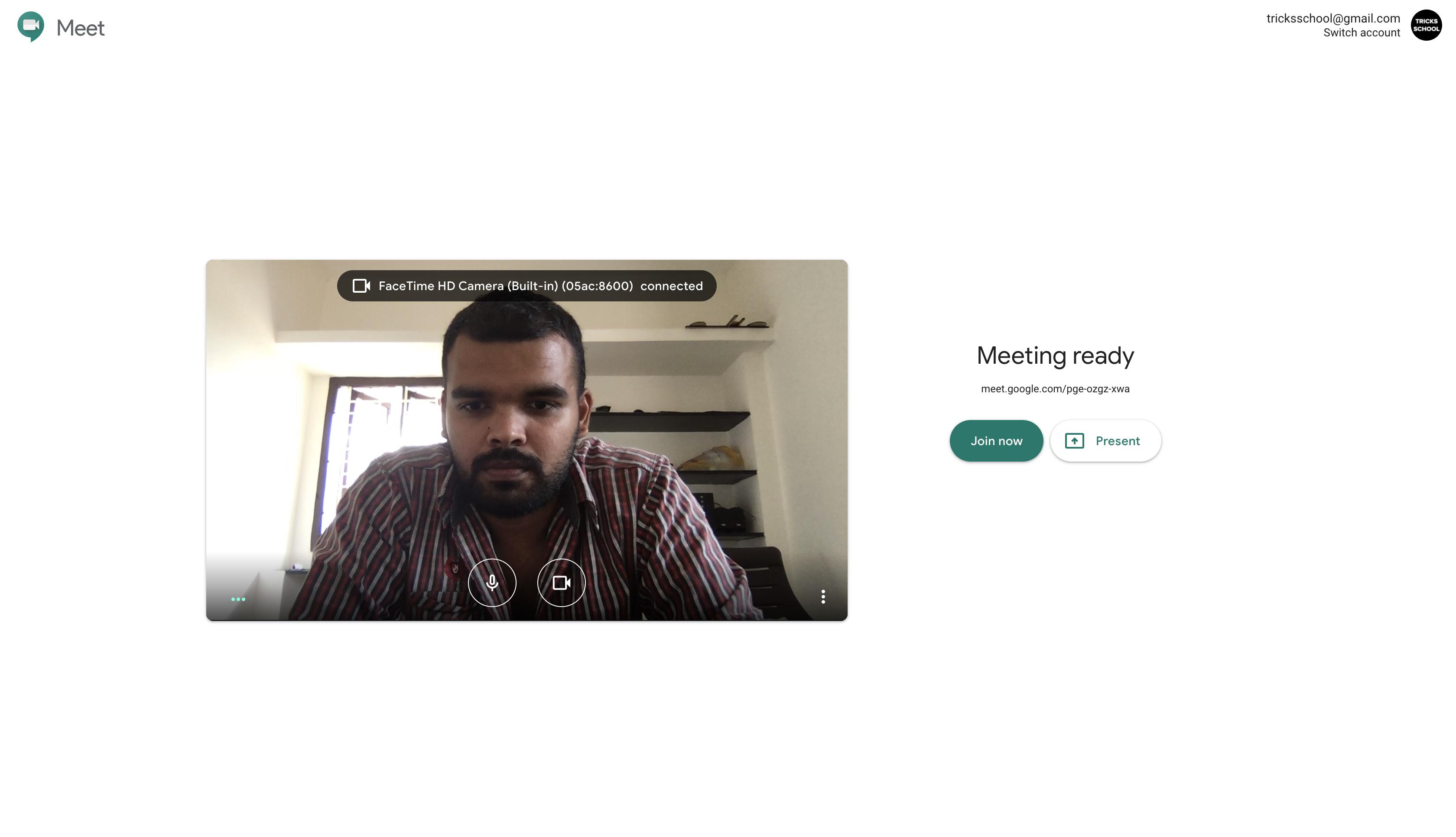 Google Meet start call