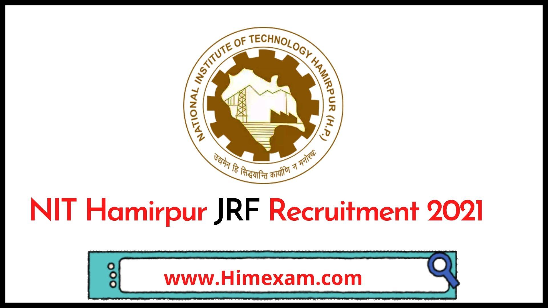 NIT Hamirpur JRF Recruitment 2021