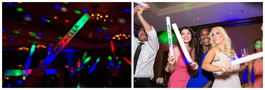 custom rave light up stick bars at wedding reception at Omni Montelucia