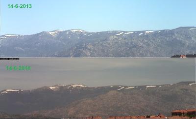 Comparativa nieve sierra de Guadarrama 14-6-2013 frente a 14-6-2018