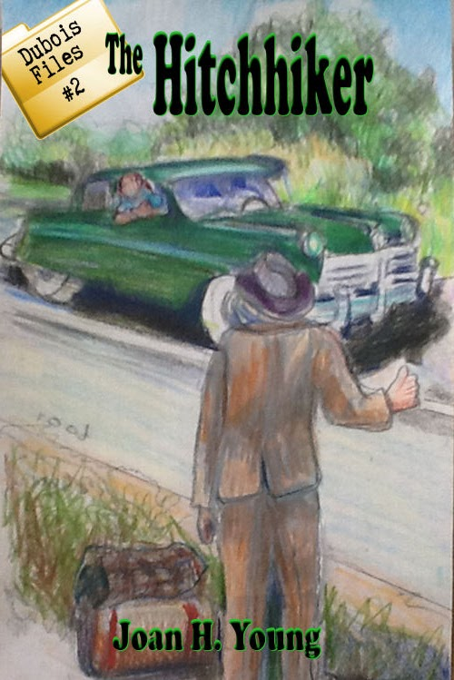 cover sketch for The Hitchhiker children's mystery