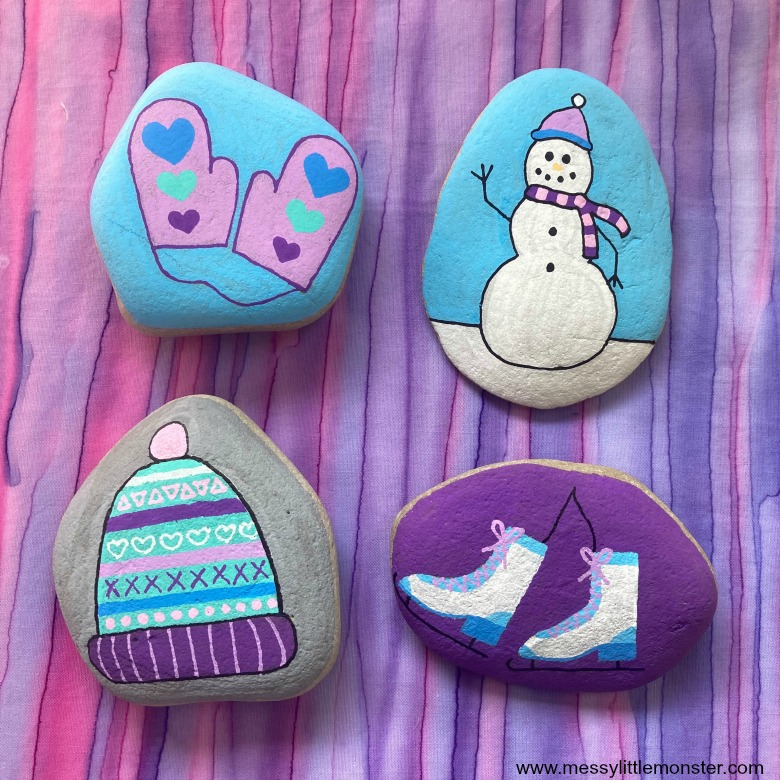 rock painting winter crafts for kids