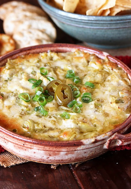Cheesy Baked Artichoke Dip with Green Chilies and Jalapenos Image