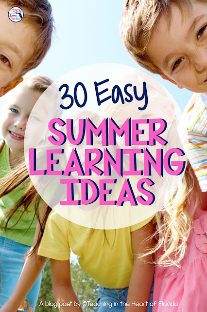 30 Summer Learning Ideas for Elementary Students including resources