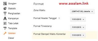 Ubahlah format header tanggal, Timestamp, dan Stempel waktu komentar di blog Anda, seperti gambar dibawah ini: