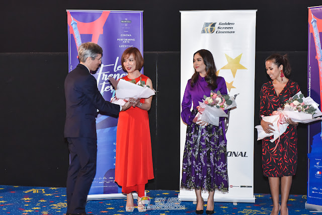 Ms. Koh Mei Lee, local actress Siti Saleha, H.E. Mr. Frédéric LAPLANCHE and President of Alliance Francaise Kuala Lumpur  Y.A.M. Tengku Zatashah at the launch of Le French Festival 2018.