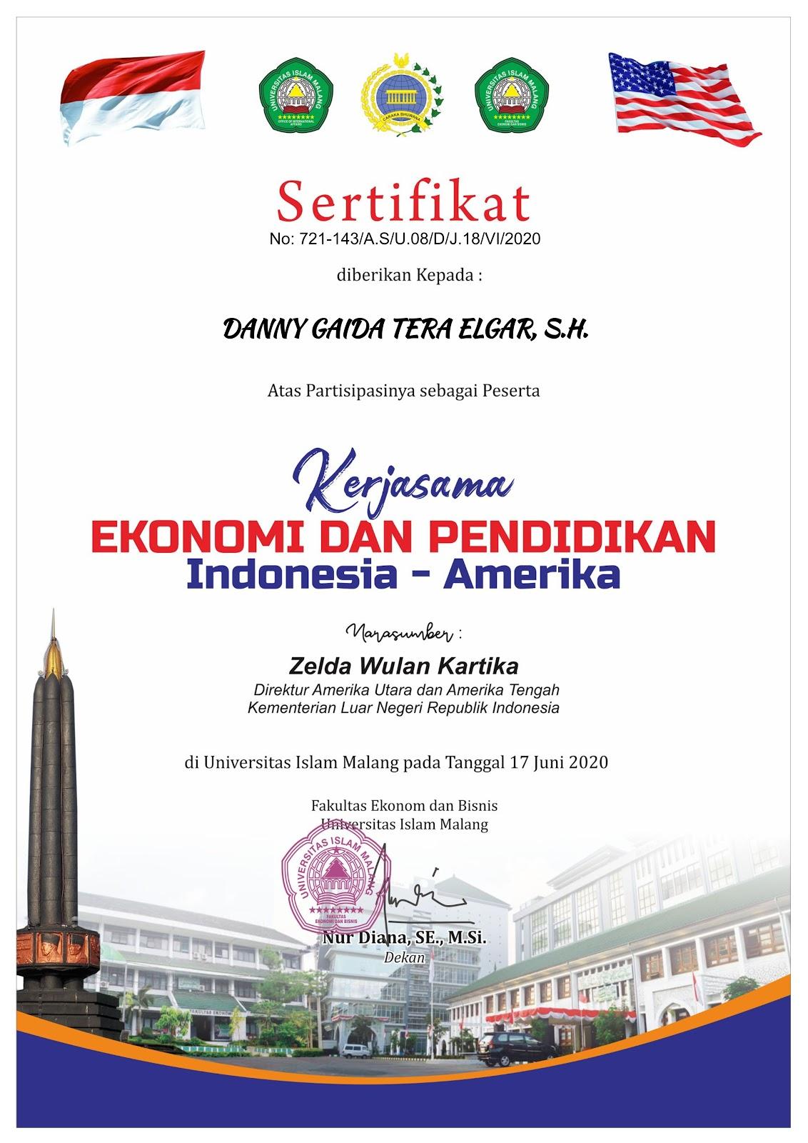 Sertifikat Kerjasama Ekonomi dan Pendidikan Indonesia - Amerika | Kementerian Luar Negeri Republik Indonesia (Kemlu RI) | Fakultas Ekonomi dan Bisnis Universitas Islam Malang (UNISMA) | Rabu, 17 Juni 2020