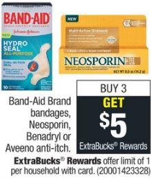 Band-Aid Brand bandages, Neosporin, Benadryl or Aveeno anti-itch