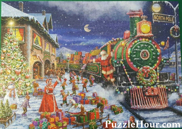 Santa express train Christmas jigsaw puzzle north pole workshop elves gifts presents