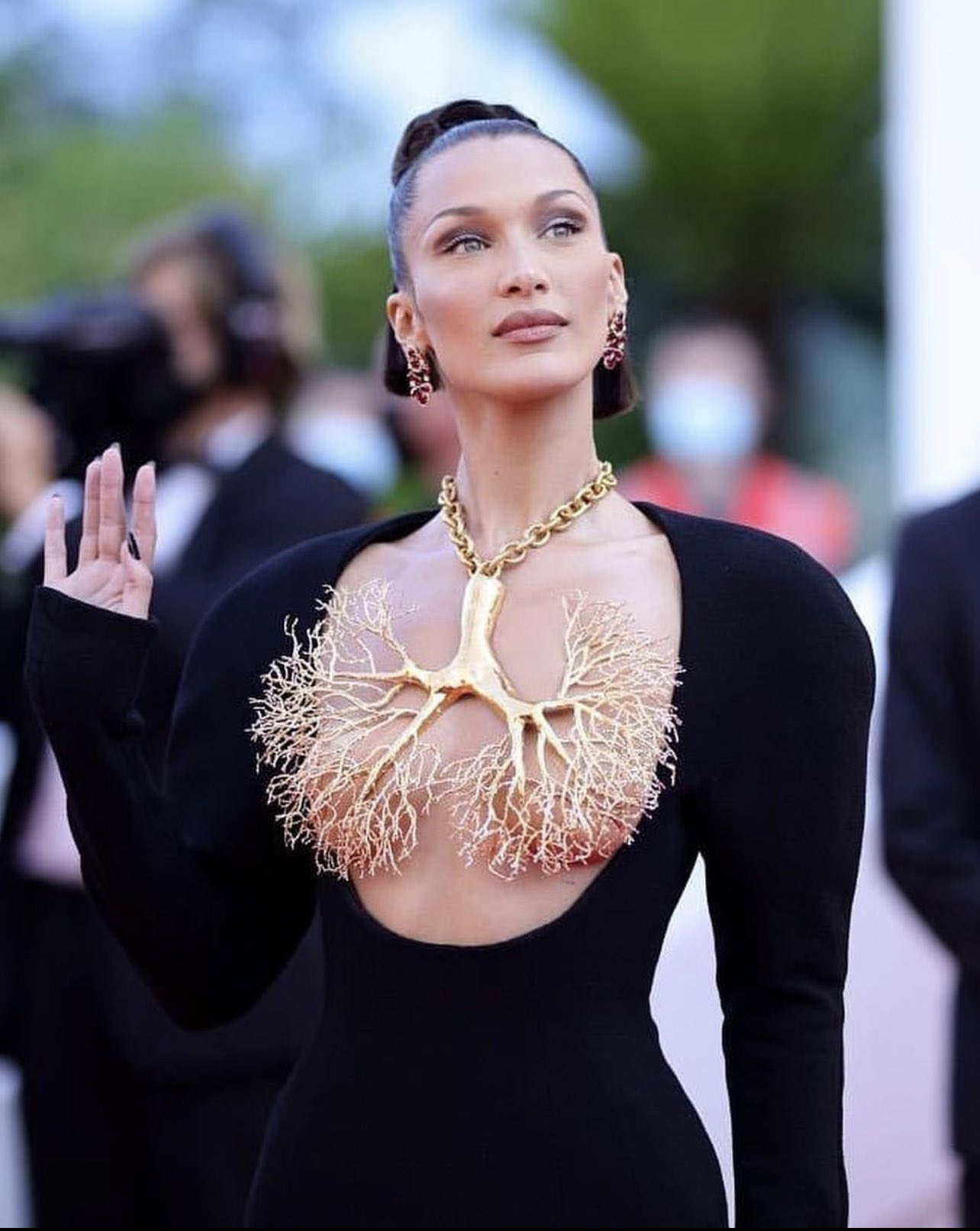 Bella Hadid arrives in statement necklace at The Three Floors Cannes Film Festival 2021 premiere