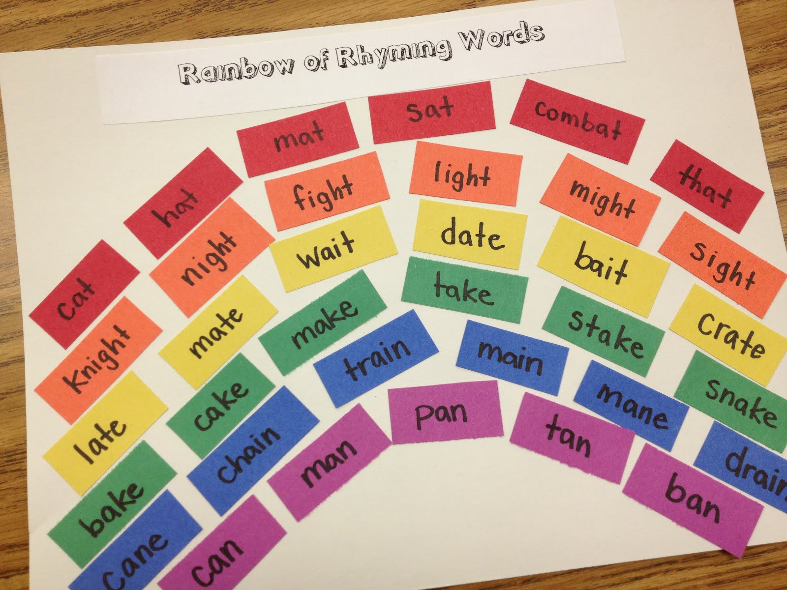 A Love For Teaching Rainbow Of Rhyming Words