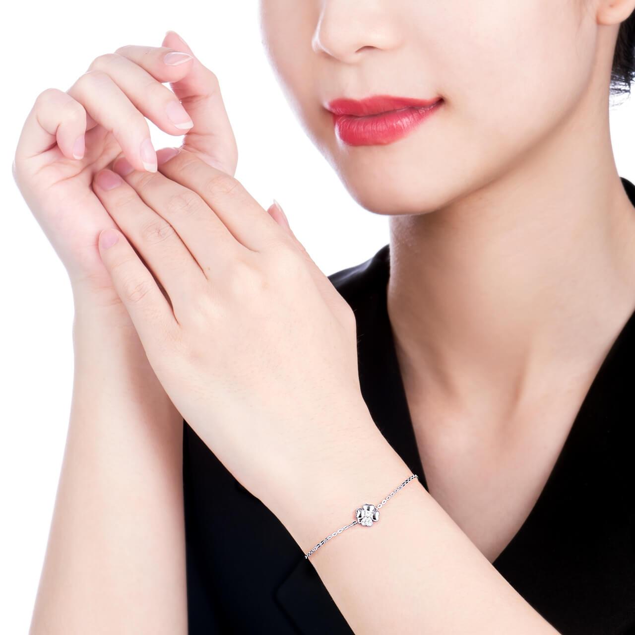 Lắc tay Kim cương Vàng trắng 14K PNJ First Diamond DDDDW000117