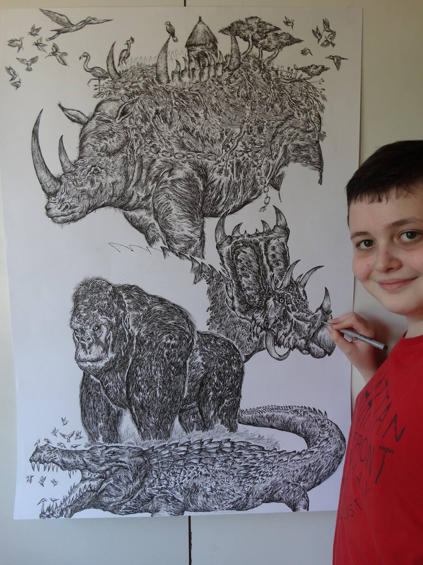 17-Rhino-Gorilla-and-Triceratops-Dušan-Krtolica-Душан-Кртолица-Drawing-Animals-and-Insects-from-His-Memory-Bank-www-designstack-co