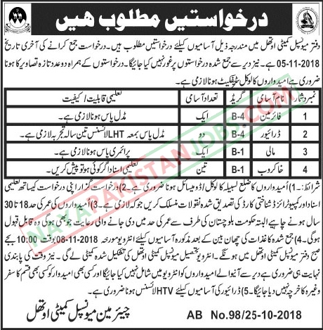 Latest Vacancies Announced in Municipal Committee Government of Balochistan 26 October 2018 - Naya Pakistan