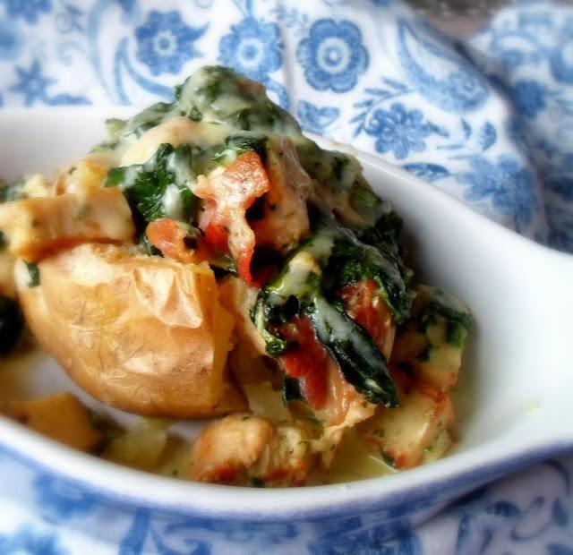Chicken & Pancetta Stuffed Jacket Potatoes