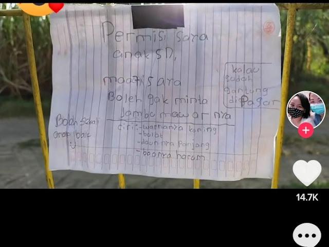 Viral Bocah SD di Sleman Tulis Surat Saat Minta Jambu Tetangga