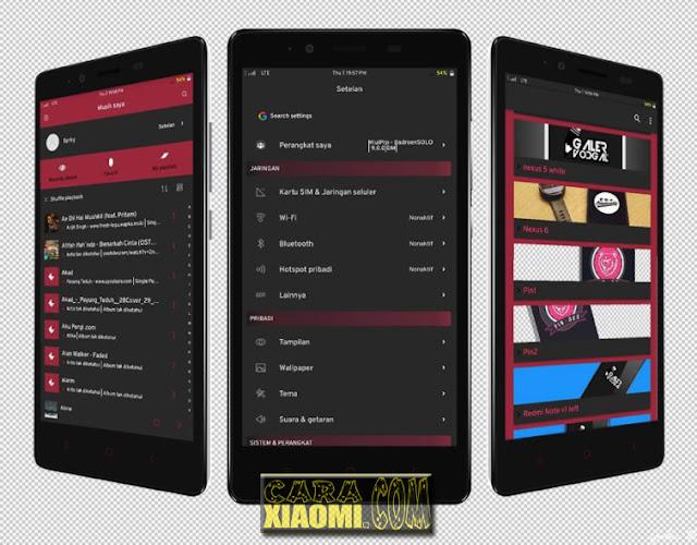 Download Thema Xiaomi Redmi Dark Maroon Mtz For MIUI V9 Theme New