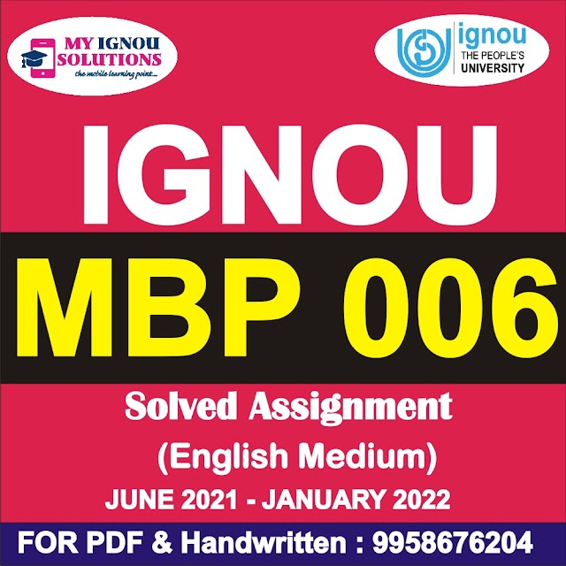 MBP 006 Solved Assignment 2021-22