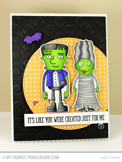 Handmade card from Jodi Collins featuring Frightful Friends #mftstamps