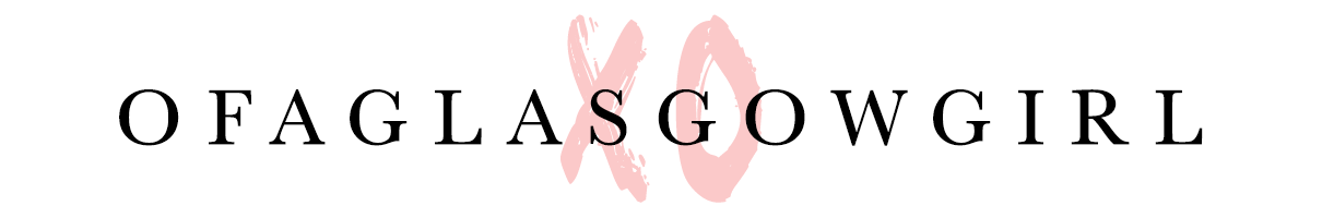 "Graphic that has ofglasgowgirl written in black on a white background with a pink ""xo"" behind it."