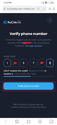 cara verifikasi Kucoinplay Nomor HP