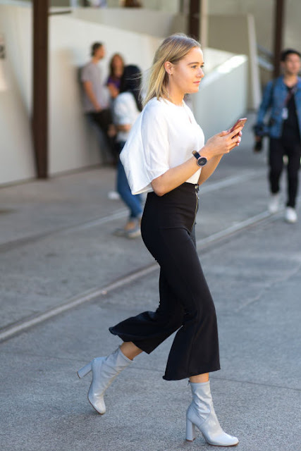cropped flares ankle boots