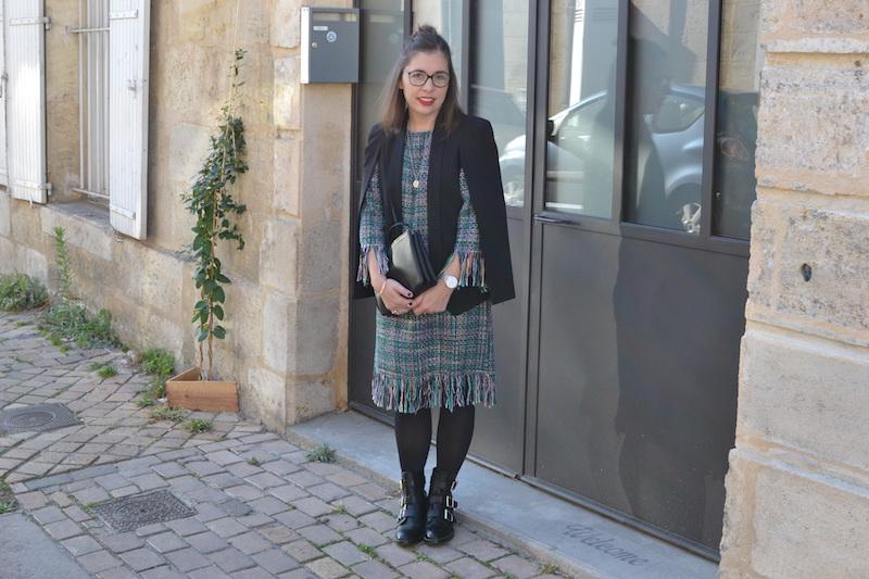 robe tweed et veste noir Sheinside, trio bag céline, collier l'atelier d'amaya, bottines noires Pimkie