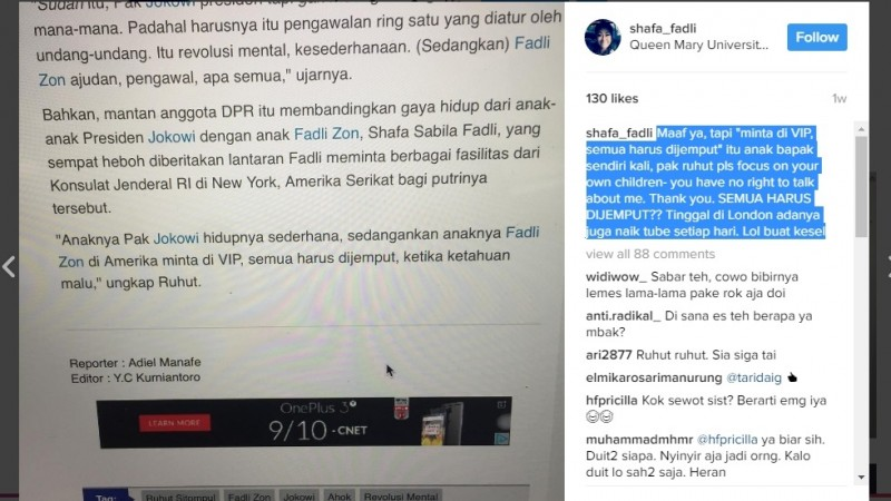 Shafa Sabila Fadli kesal dengan Ruhut Sitompul