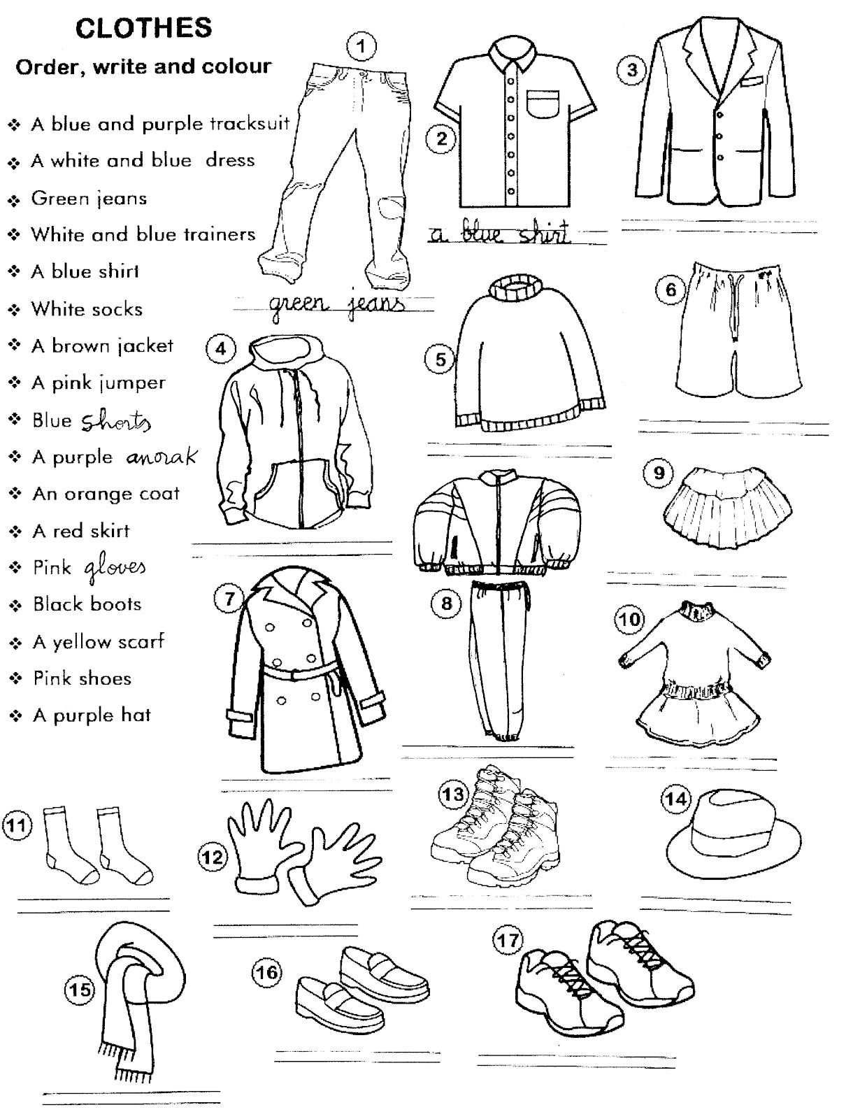 Clothes In Spanish Worksheet