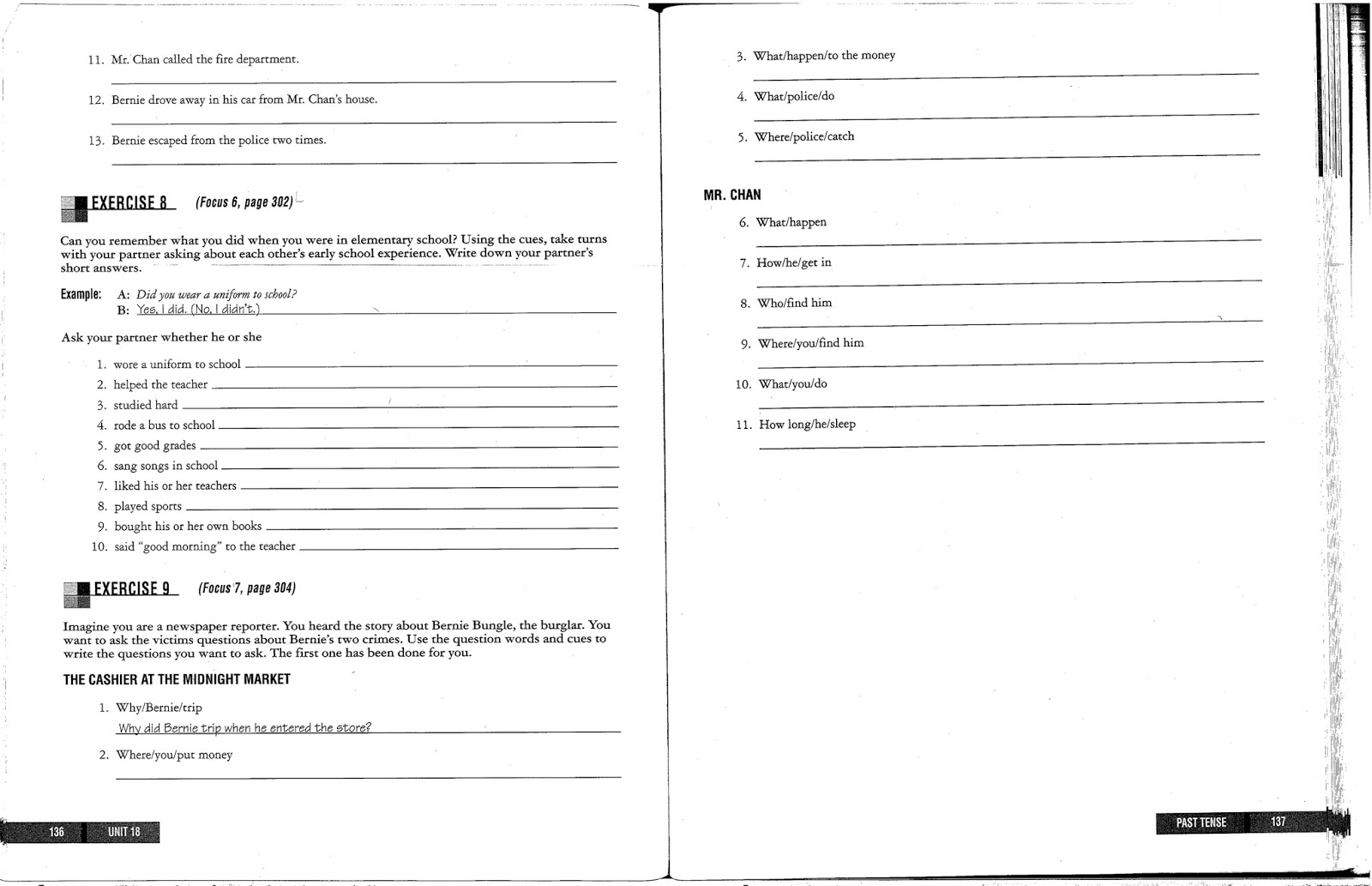 English With Mr T Grammar Homework Past Tense Continued