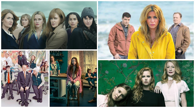 collage, tv posters - big little lies, keeping faith, sharp objects, thirteen, trollied