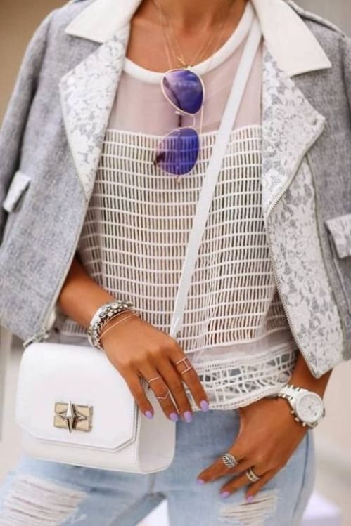 street style: white and grey with mesh fishnet t-shirt