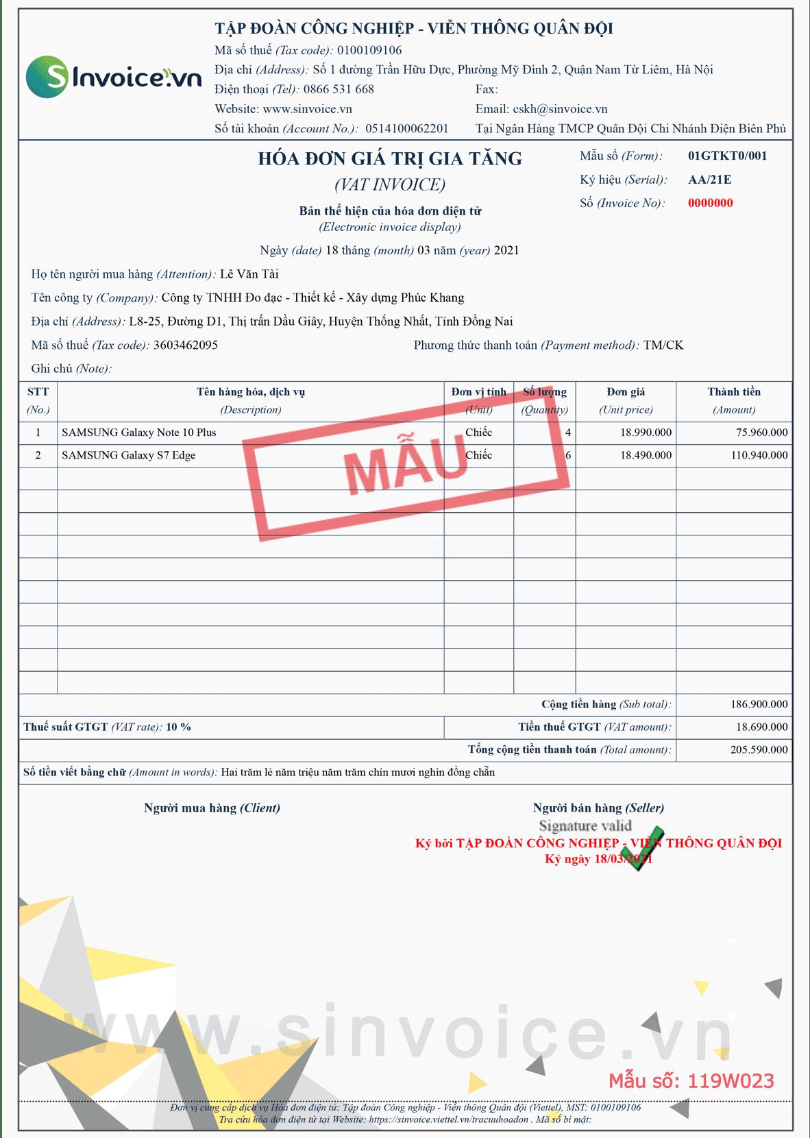 Mẫu hóa đơn điện tử số 119W023