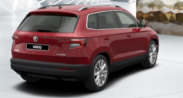 skoda karoq colore rosso velluto metallizzato vista posteriore laterale 13