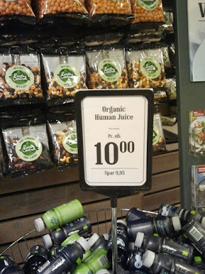 organic human juice supermarket sign display funny