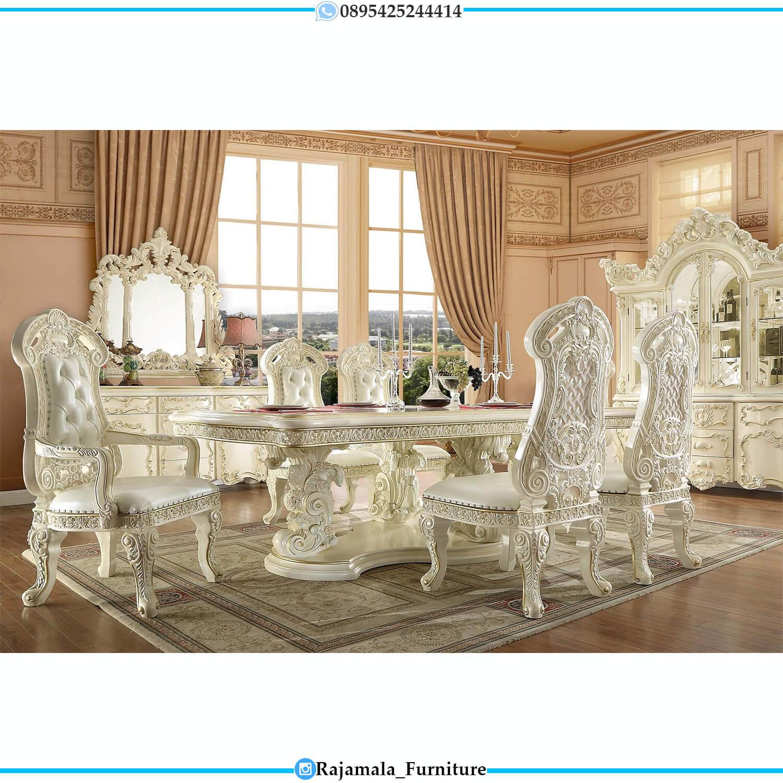 Meja Makan Mewah Raja Luxury Carving Putih Duco Classic Excellent RM-0468
