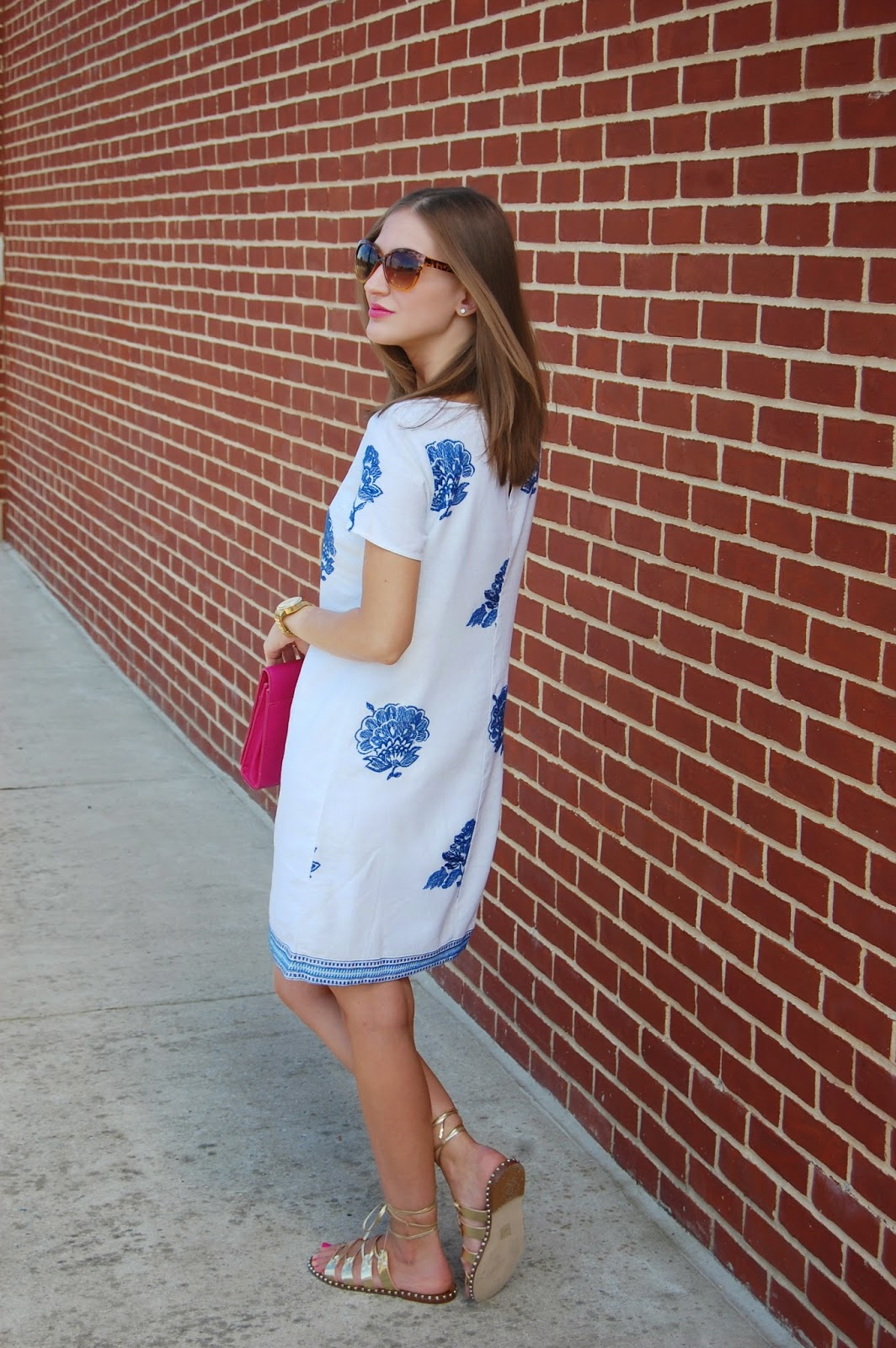 7cfb4074a416 A Summer Time Staple. Wearing Old Navy Embroidered Linen Blend Shift Dress