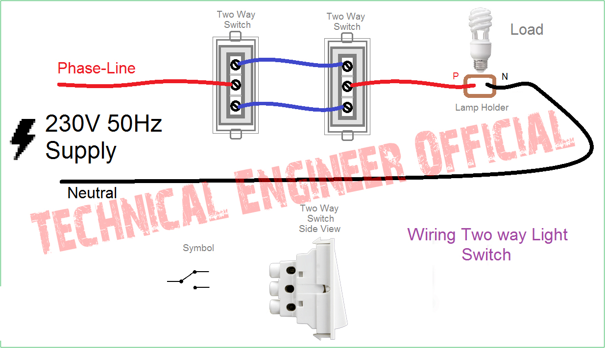 two way switch connection i how to connect a 2 way switch with 2 way switch wiring video [ 1235 x 711 Pixel ]