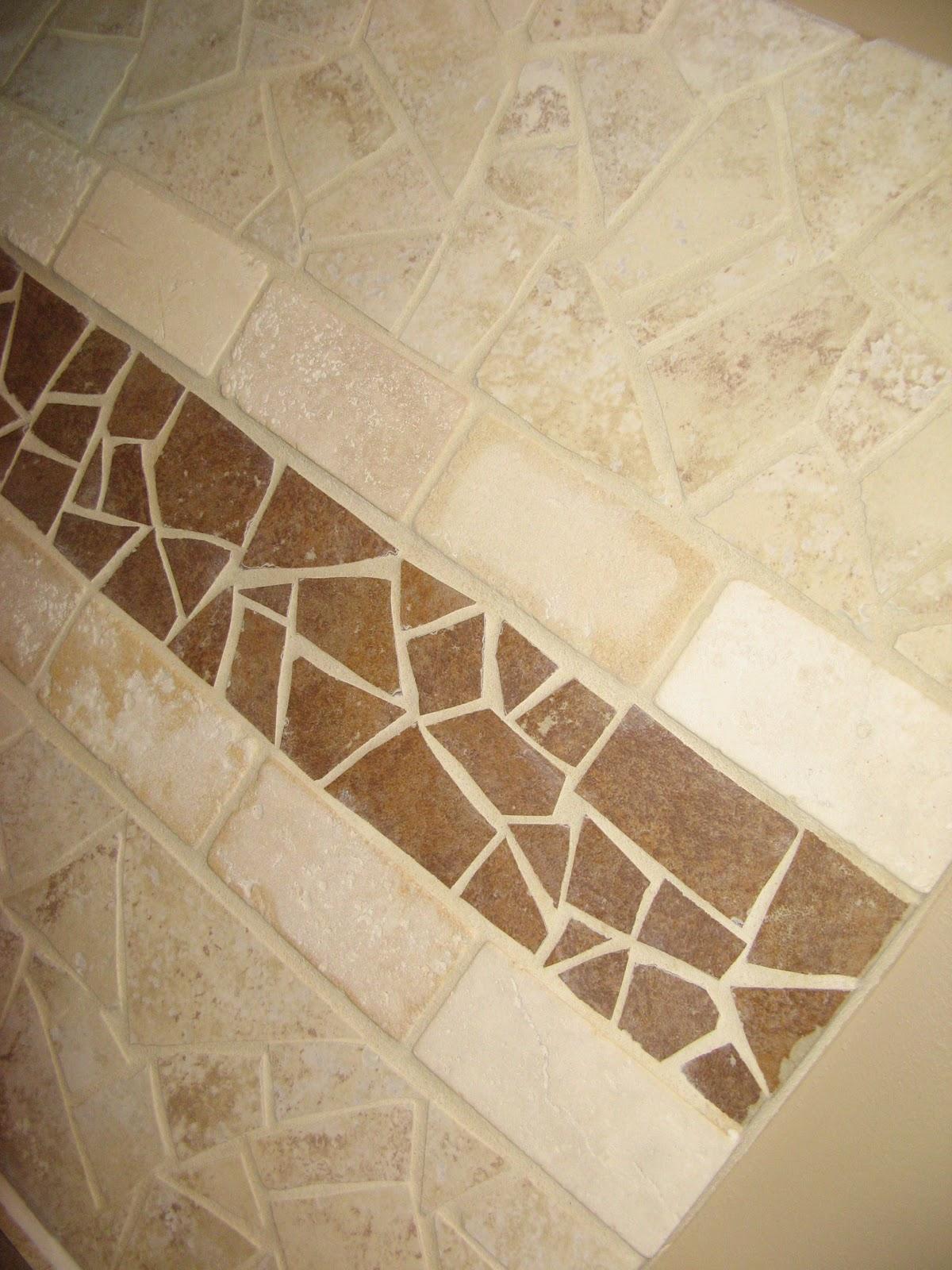 Broken Ceramic Tile Mosaic Backsplash Close Up