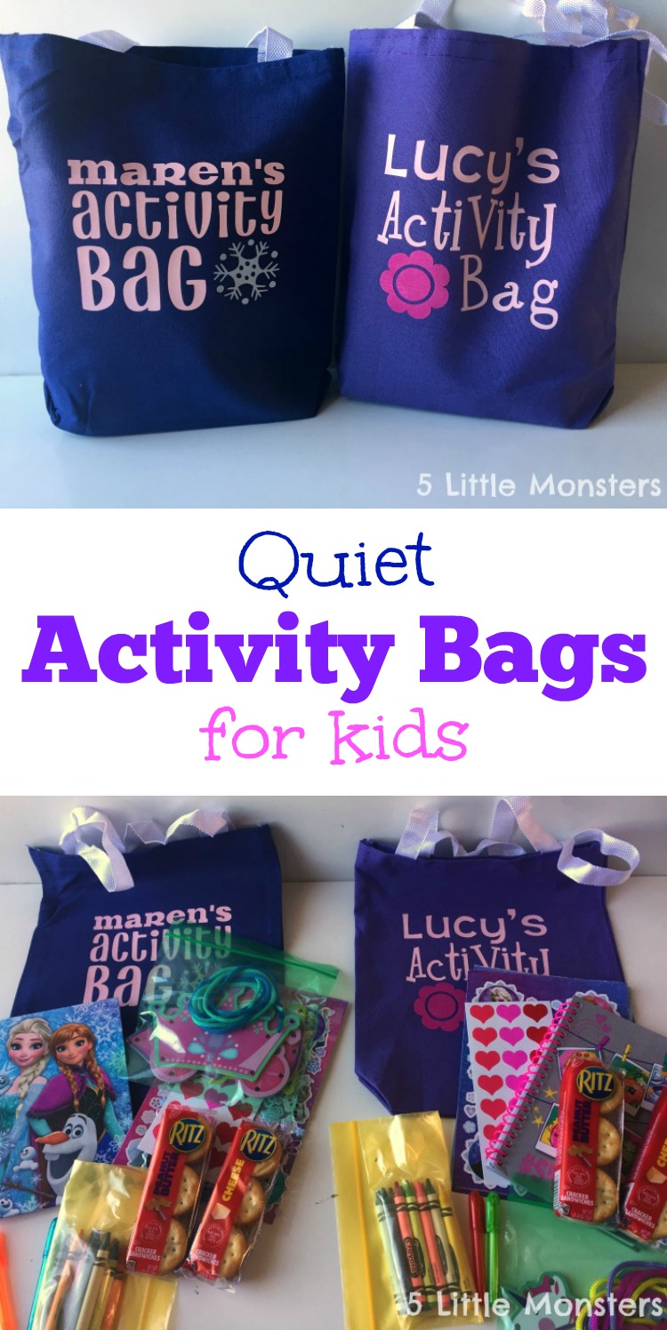 Personalized Activity Bags are great for keeping kids entertained while out and about